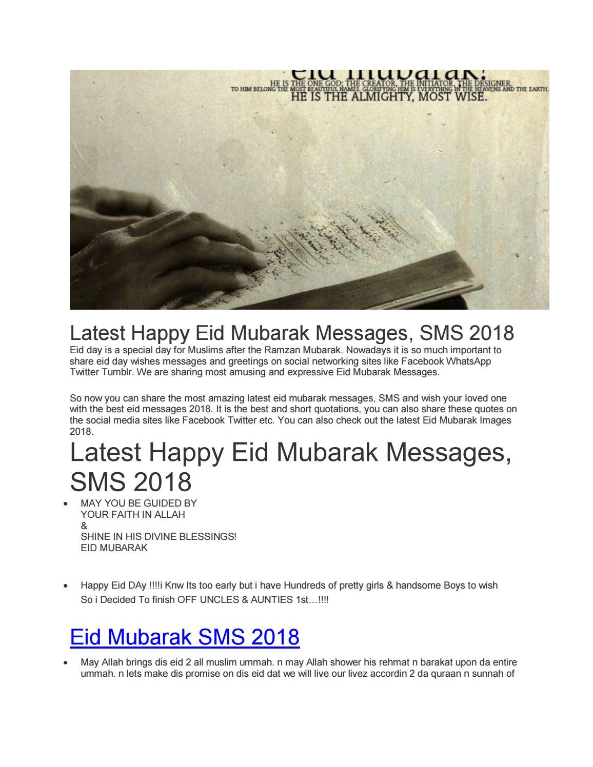 Latest Happy Eid Mubarak Messages Sms 2018 By Zill E Huma Issuu