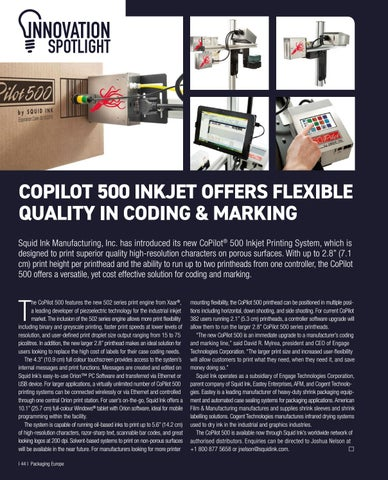 Page 46 of COPILOT 500 INKJET OFFERS FLEXIBLE QUALITY IN CODING & MARKING