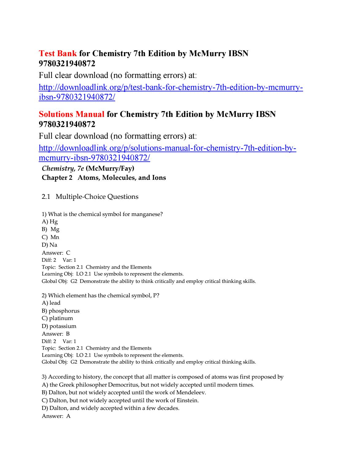 Test bank for chemistry 7th edition by mcmurry ibsn
