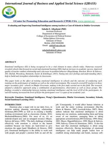Evaluating and Improving Emotional Intelligence among