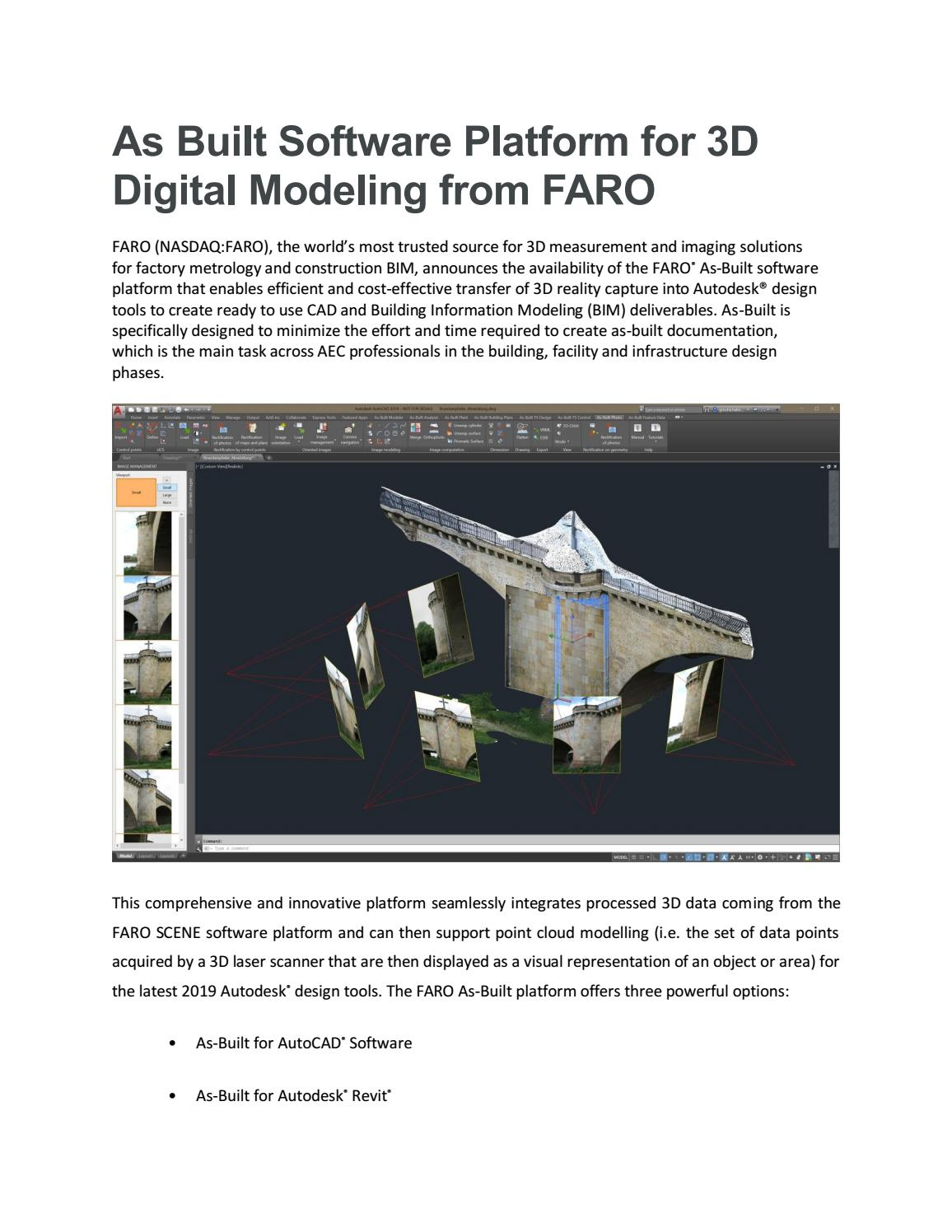 As built software platform for 3d digital modeling from faro