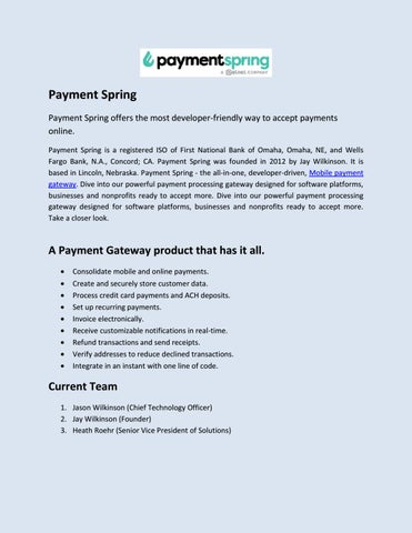 Paymentspring by Payment Spring SaaS - issuu