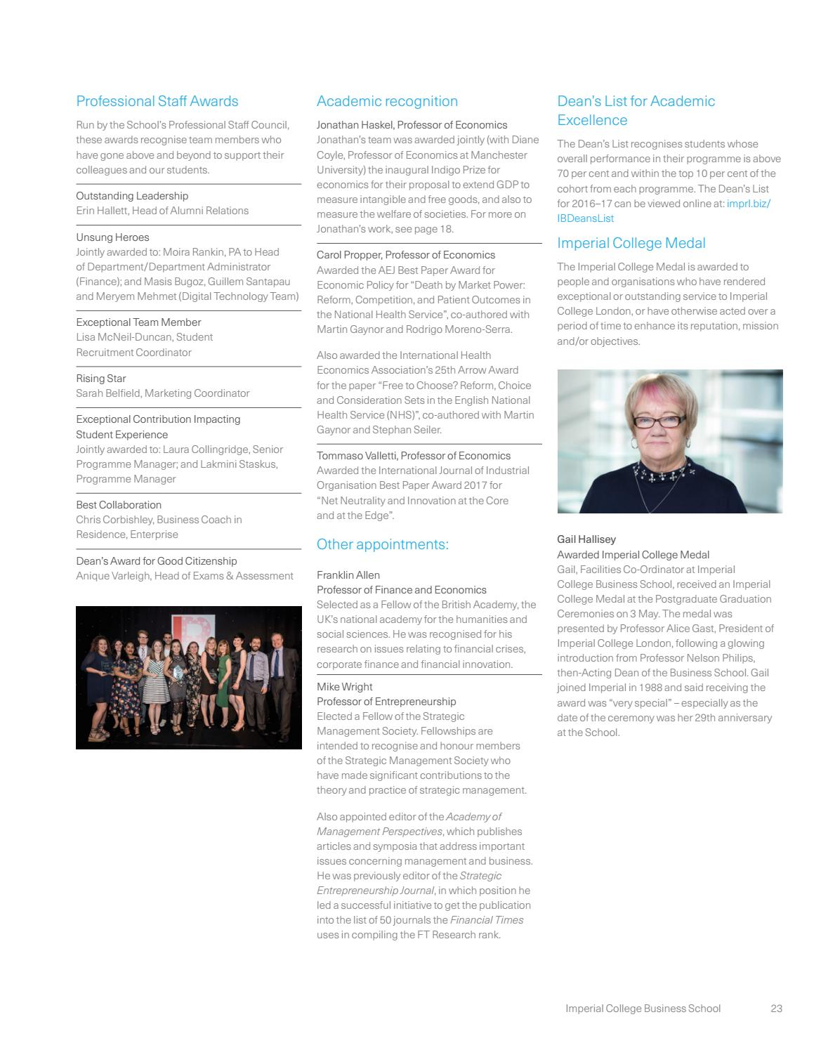 Imperial College Business School Annual Report 2017 by Imperial