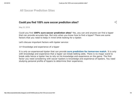 Could you find 100% sure soccer prediction sites by soccertipsters