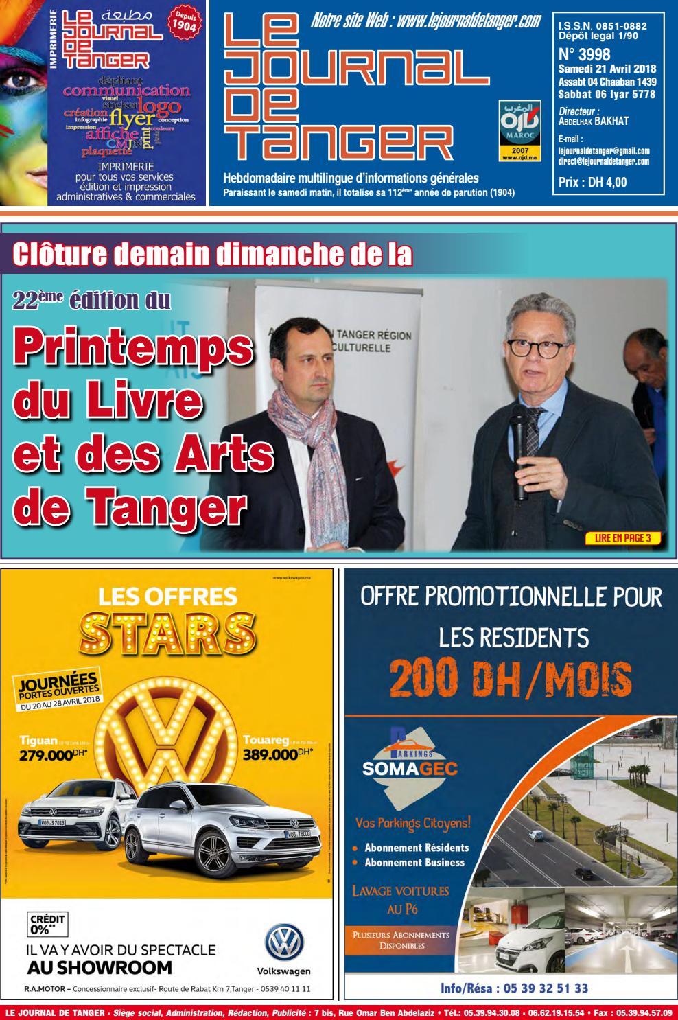 0f36d68cd693c Le journal de Tanger 21 avril 2018 by Le Journal de Tanger - issuu