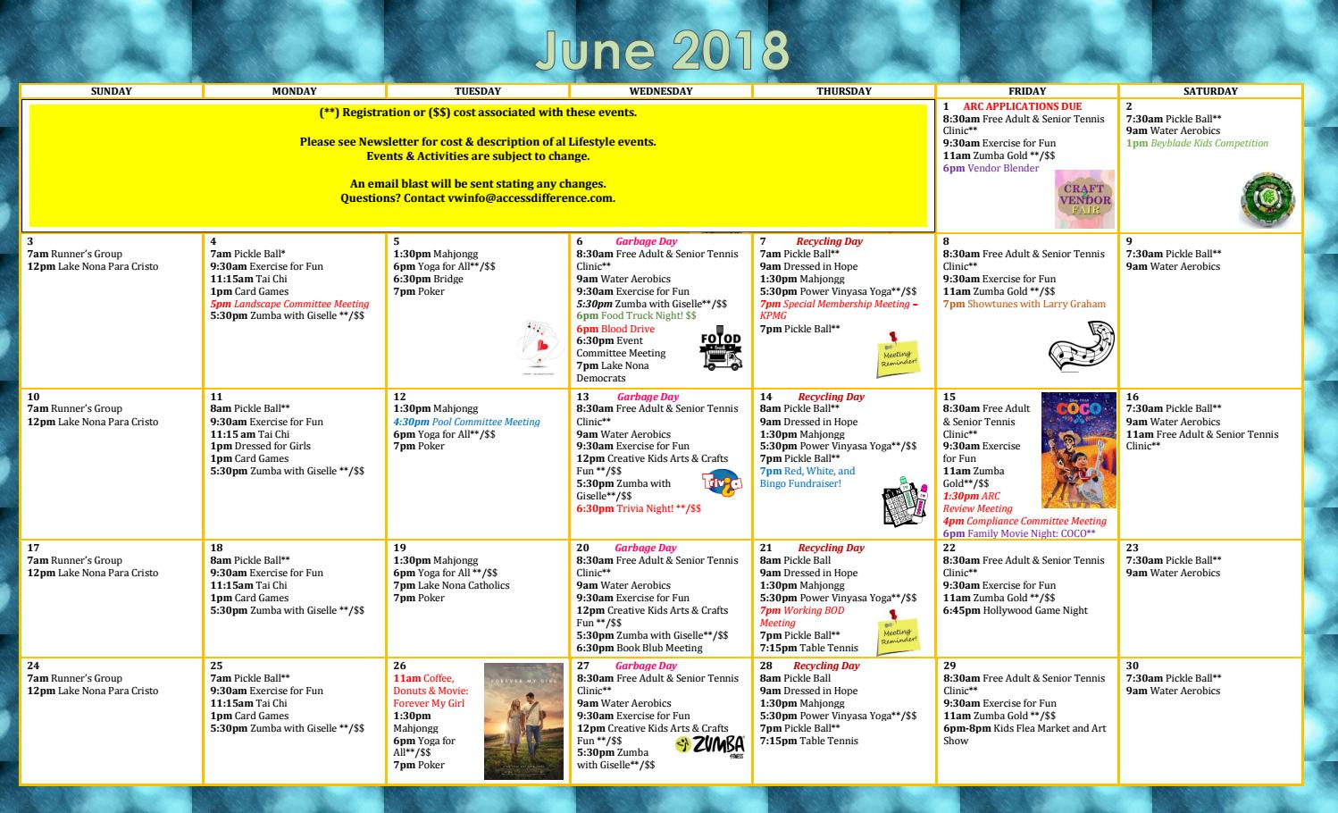 June calendar 2018 updated 5 31 2018 by VillageWalk at Lake