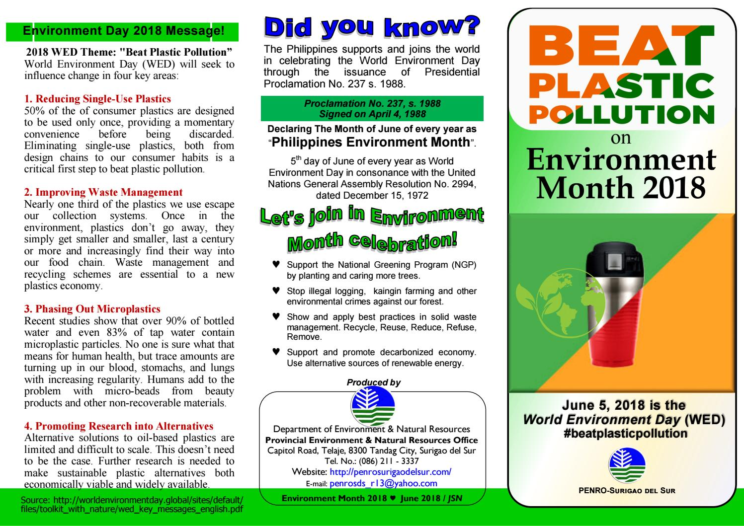 Environment Month 2018 by PENRO Surigao Sur IEC Materials - issuu