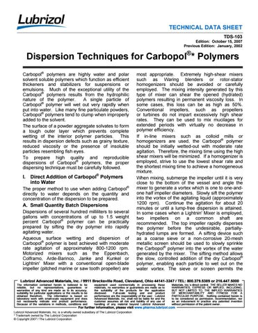 Dispersion techniques for carbopol