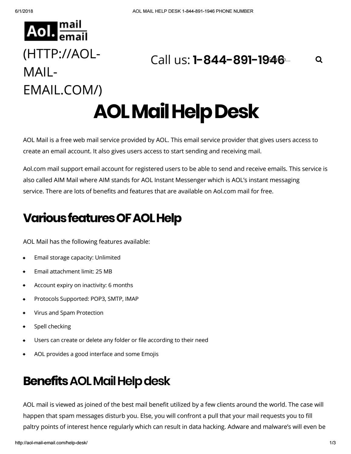 Aol mail help desk 1 844 891 1946 phone number by Himanshu