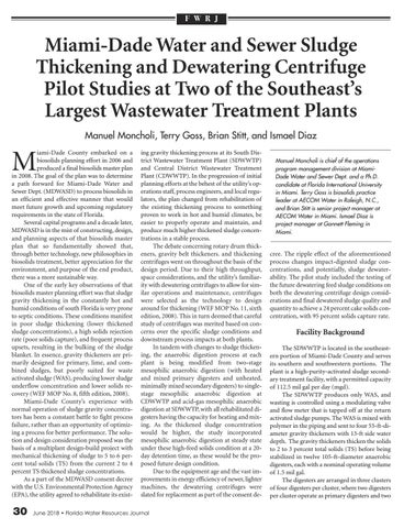 Page 30 of Miami-Dade Water and Sewer Sludge Thickening and Dewatering Centrifuge Pilot Studies at Two of the Southeast's Largest Wastewater Treatment Plants—Manuel Moncholi, Terry Goss, Brian Stitt, and Ismael Diaz