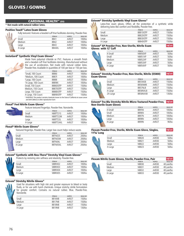 Powder Free Latex Gloves MEDIUM Box of 100 8842 Positive Touch Latex Exam Gloves