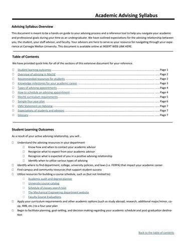 Cmu Academic Calendar.Carnegie Mellon University Cit Advising Syllabus By Wardenrodgers
