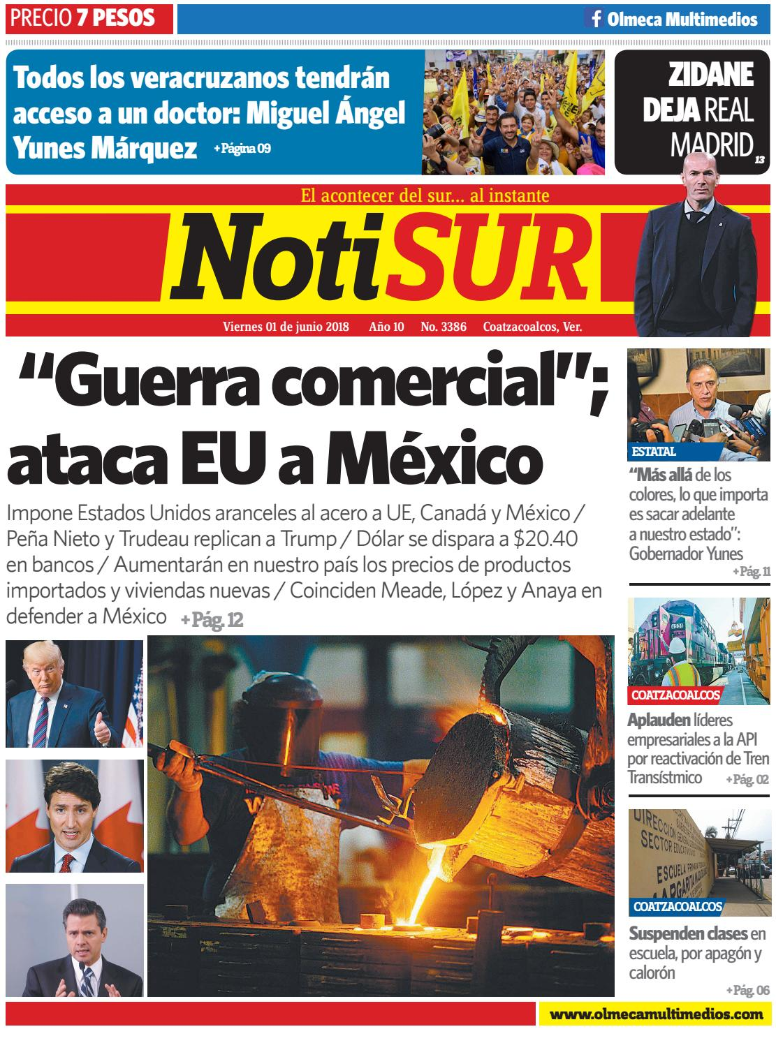NotiSUR 01 de Junio 2018 by Diario NotiSUR Coatzacoalcos 2015, 2016 ...
