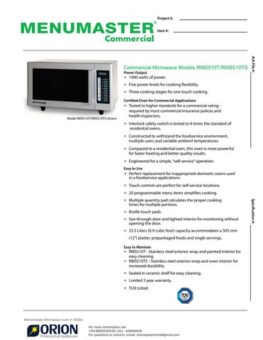 Menumaster Microwave Oven 91 9899332022