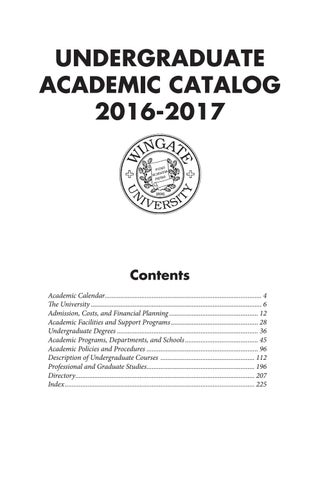 2016-17 Undergraduate Catalog by Wingate University - issuu