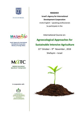 Agroecological approaches for sustainable intensive agriculture by