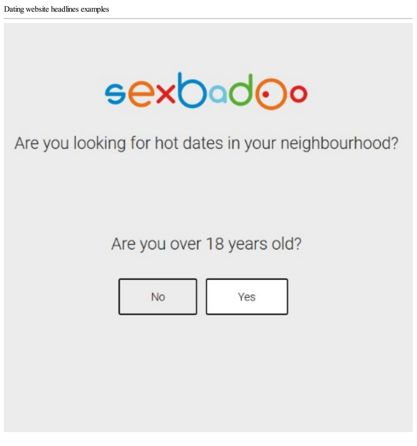 Headline for dating sites examples