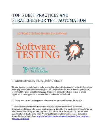 Top 5 best practices and strategies for test automation by