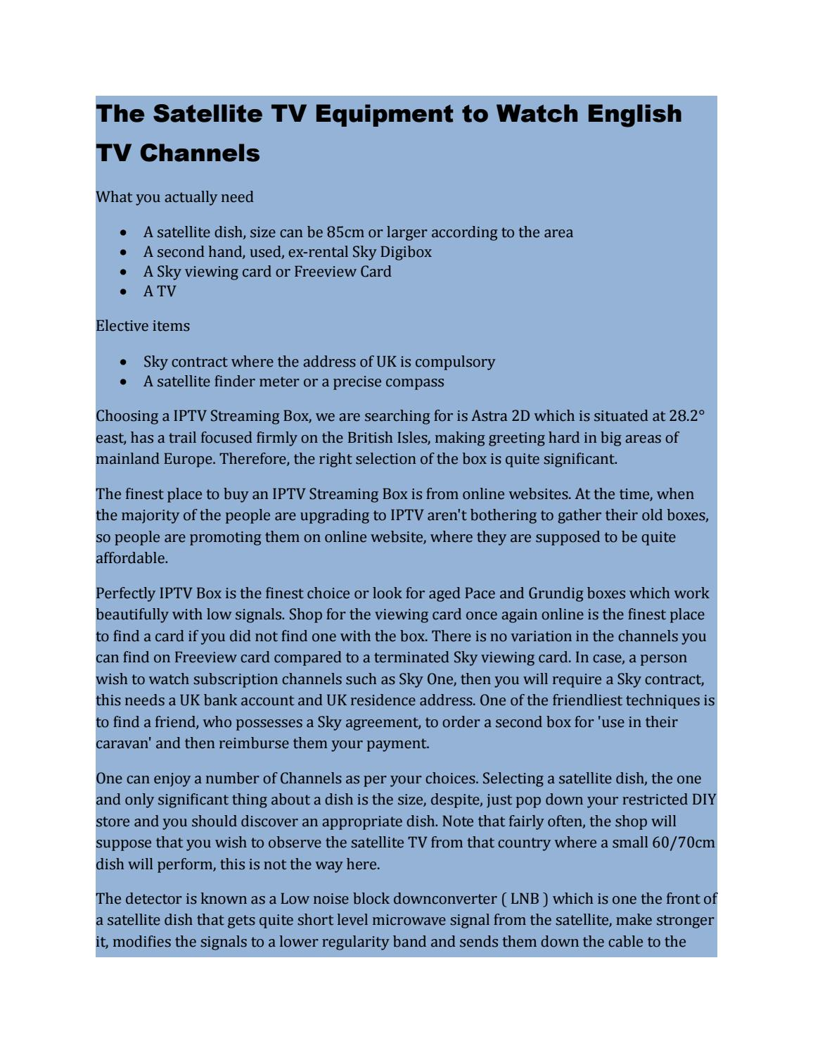 The Satellite TV Equipment to Watch English TV Channels by