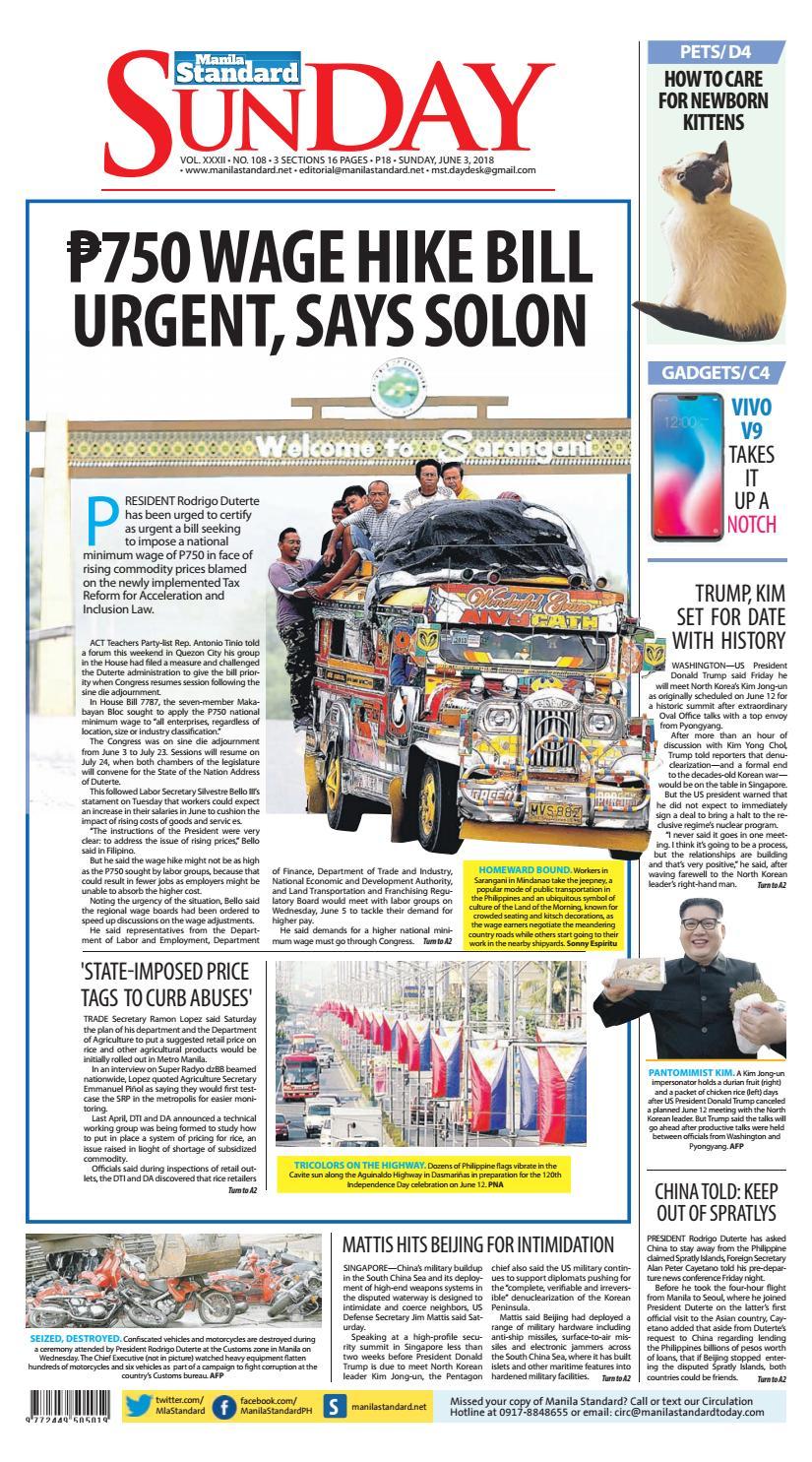 Manila Standard - 2018 June 3 - Sunday by Manila Standard