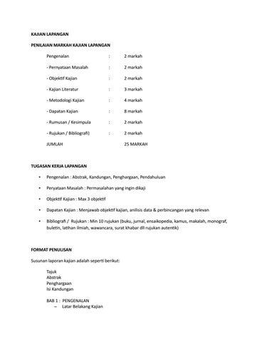 Format Penulisan Kajian Lapangan By Ifa1602 Issuu