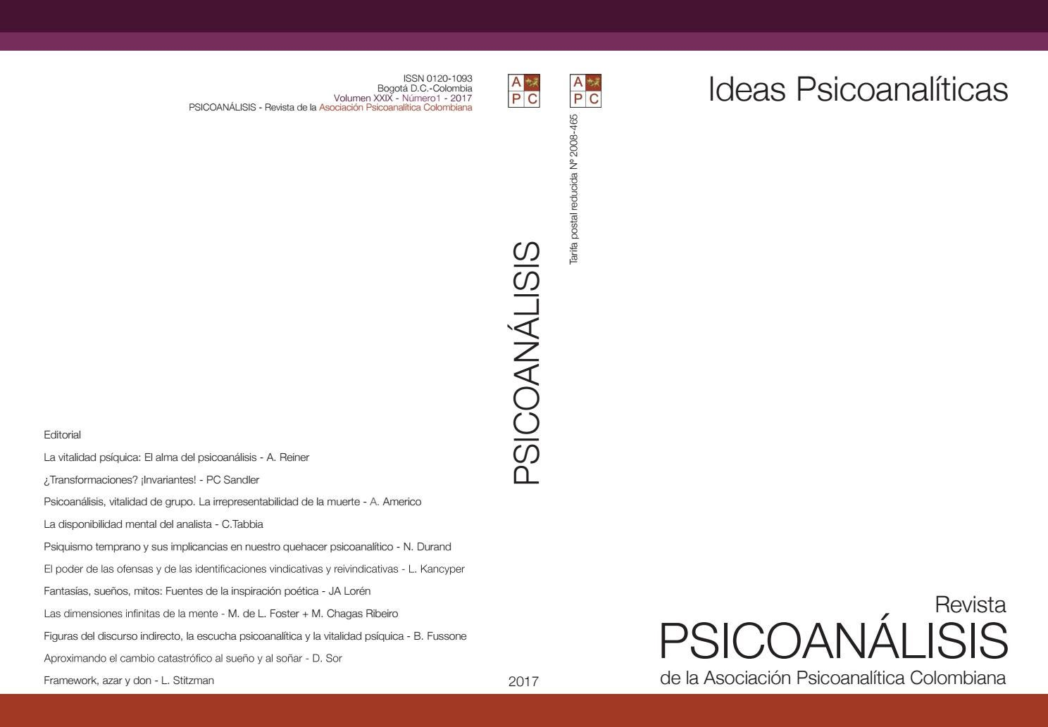 Psicoanálisis Vol Xxix N 1 By Giovannyrodri Issuu