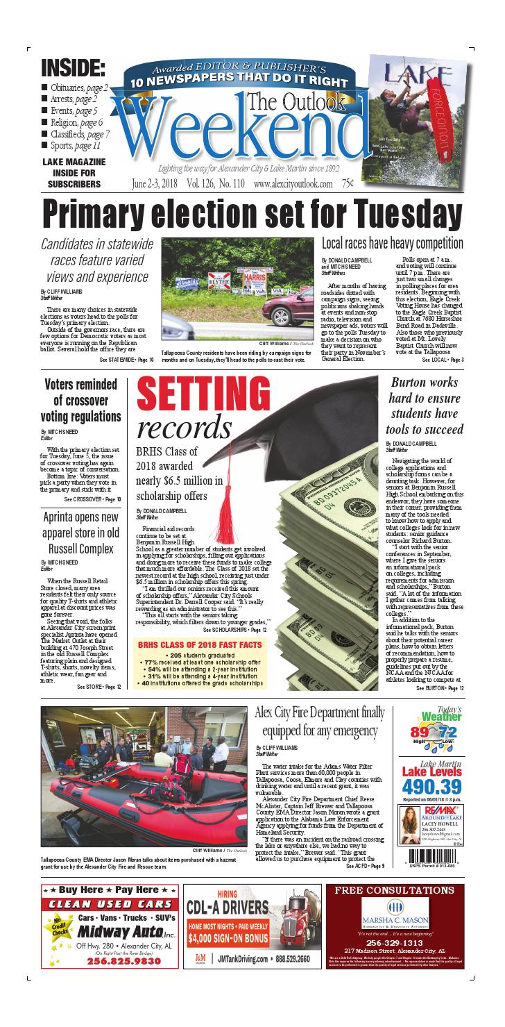 Madison Street Department Finally Gets >> June 2 2018 Alex City Outlook By Tallapoosa Publishers Issuu
