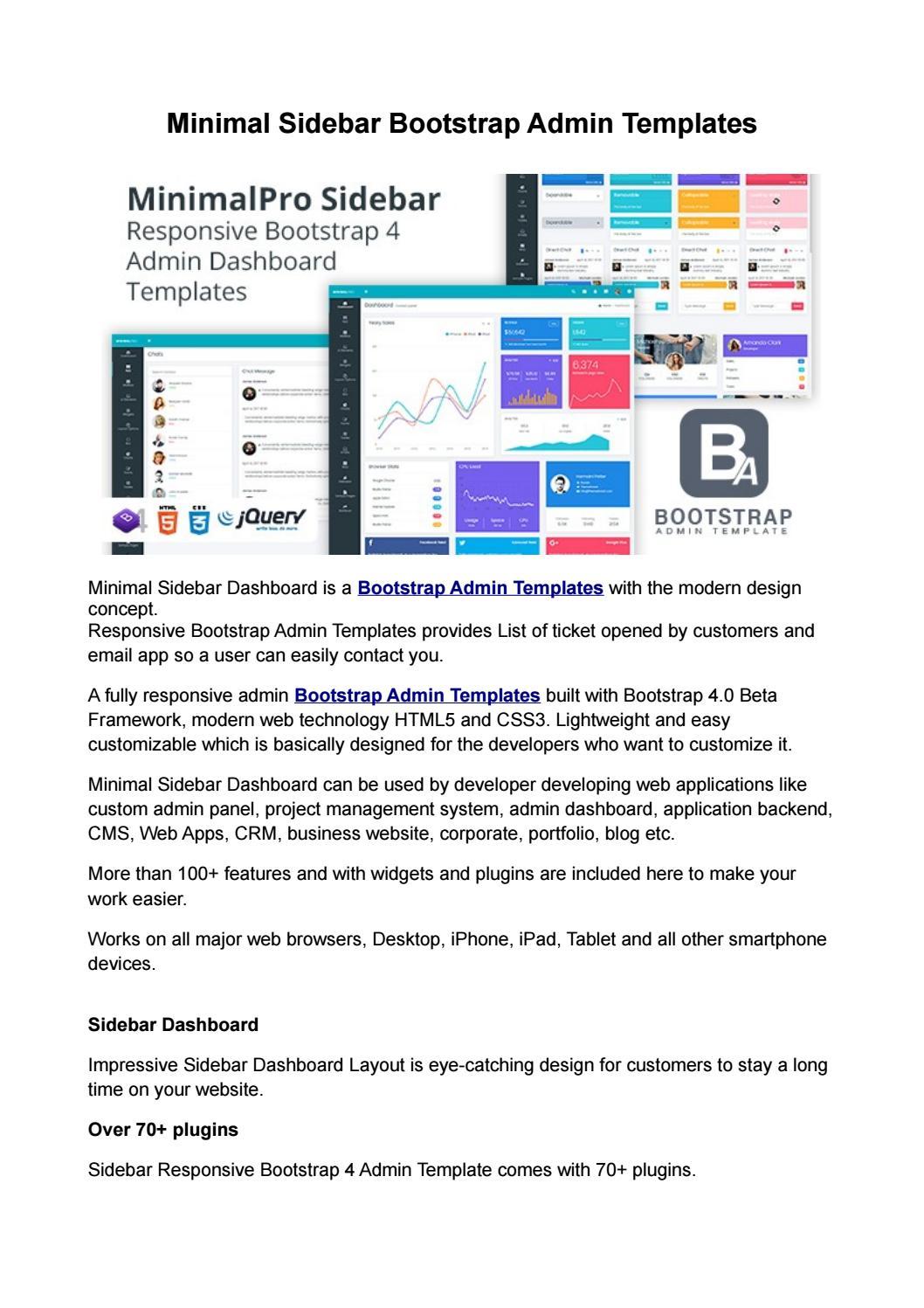 Minimal sidebar bootstrap admin templates by
