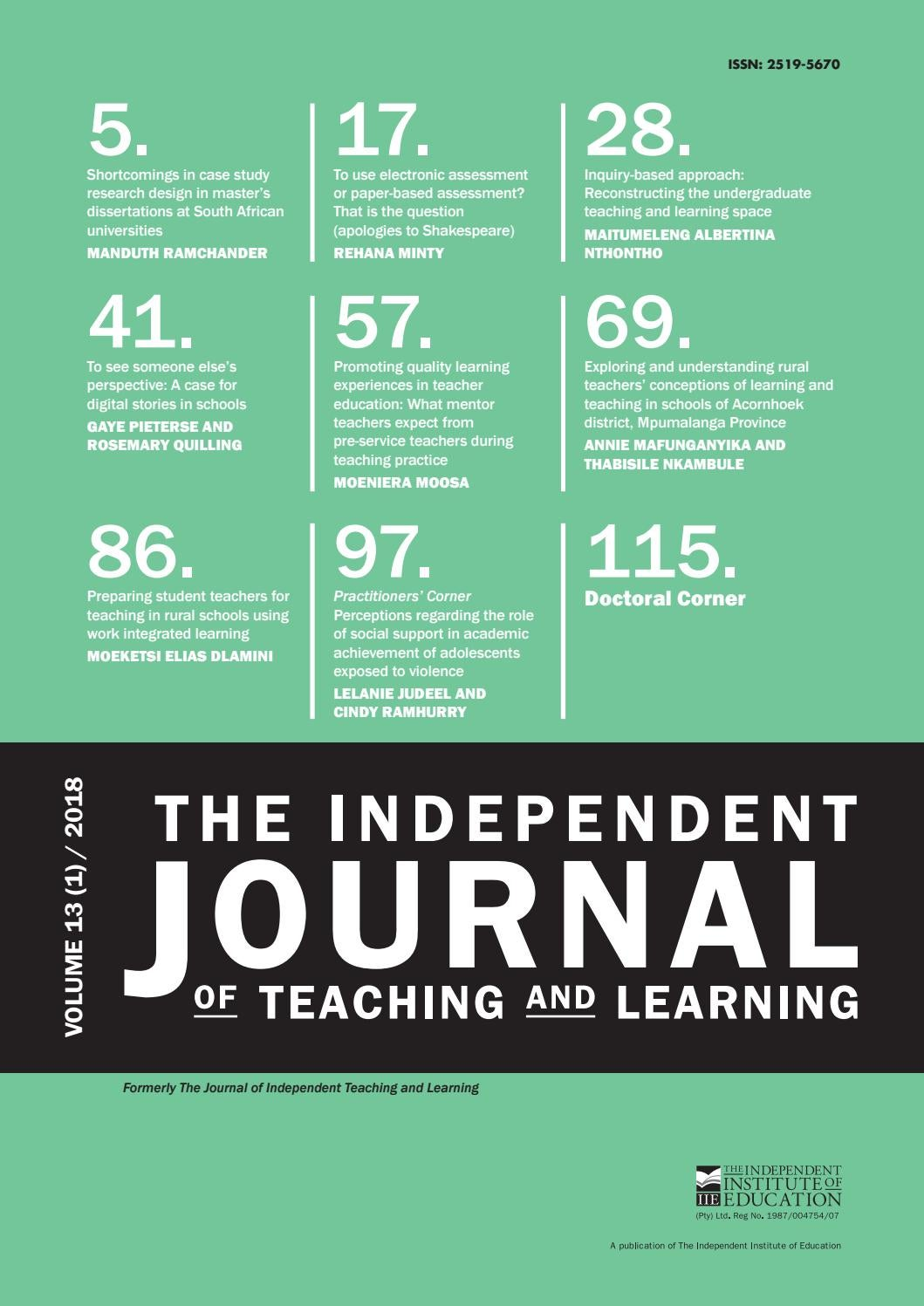 The Independent Journal Of Teaching And Learning Vol 13 1