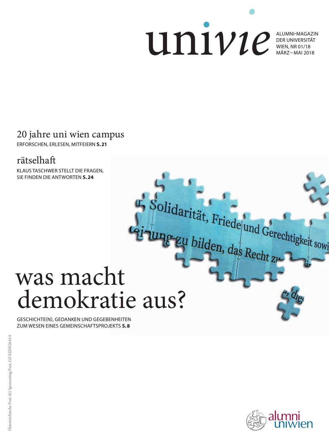 univie 1/2018: Was macht Demokratie aus? by Alumniverband der ...