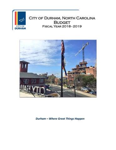 City Of Durham North Carolina Fy 2018 2019 Preliminary Budget By