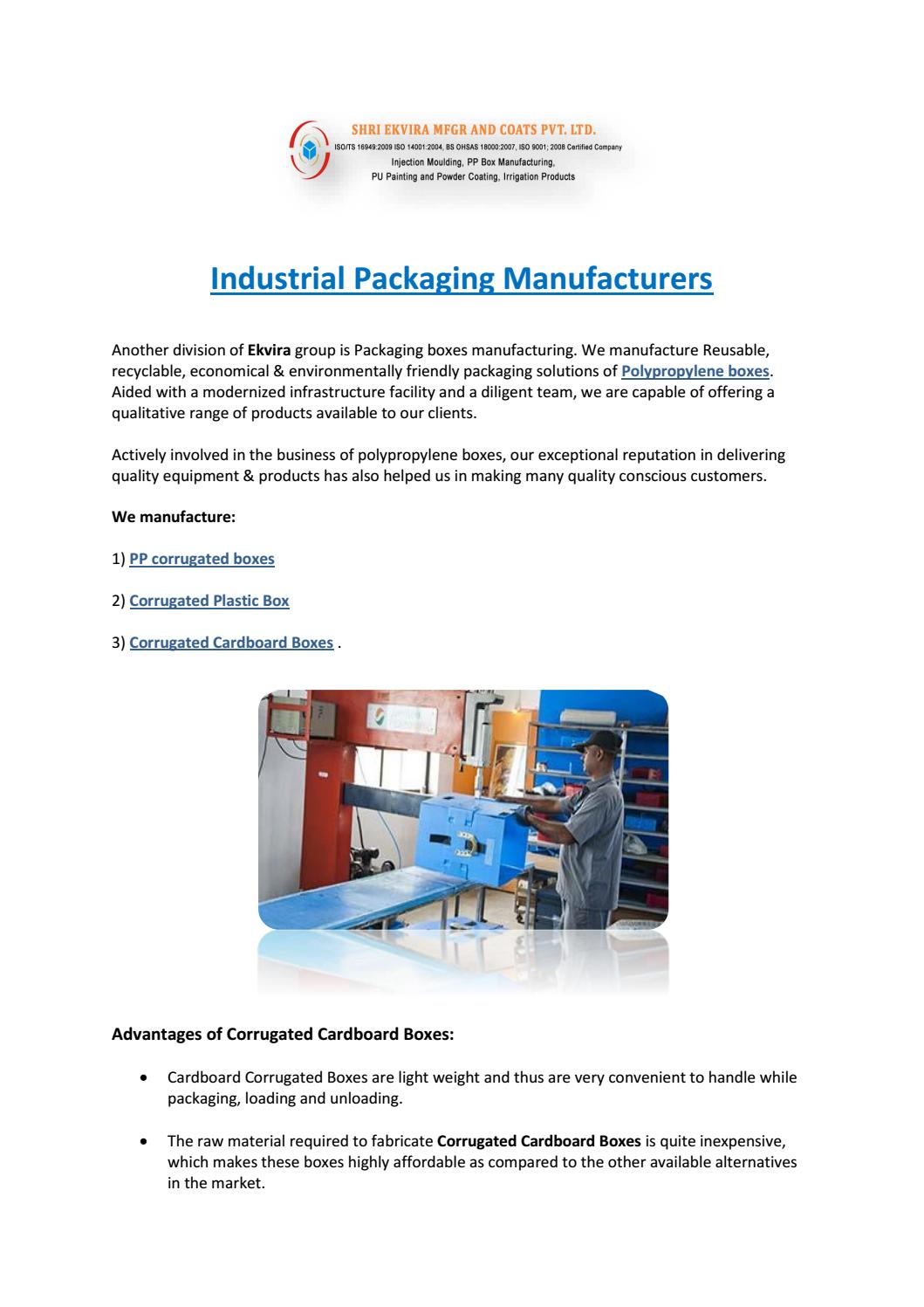 Industrial packaging manufacturers by Ekvira manufacturing