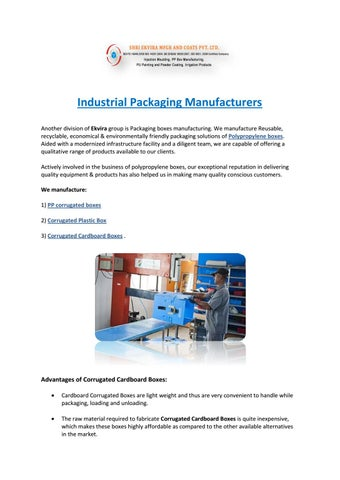Industrial packaging manufacturers by Ekvira manufacturing