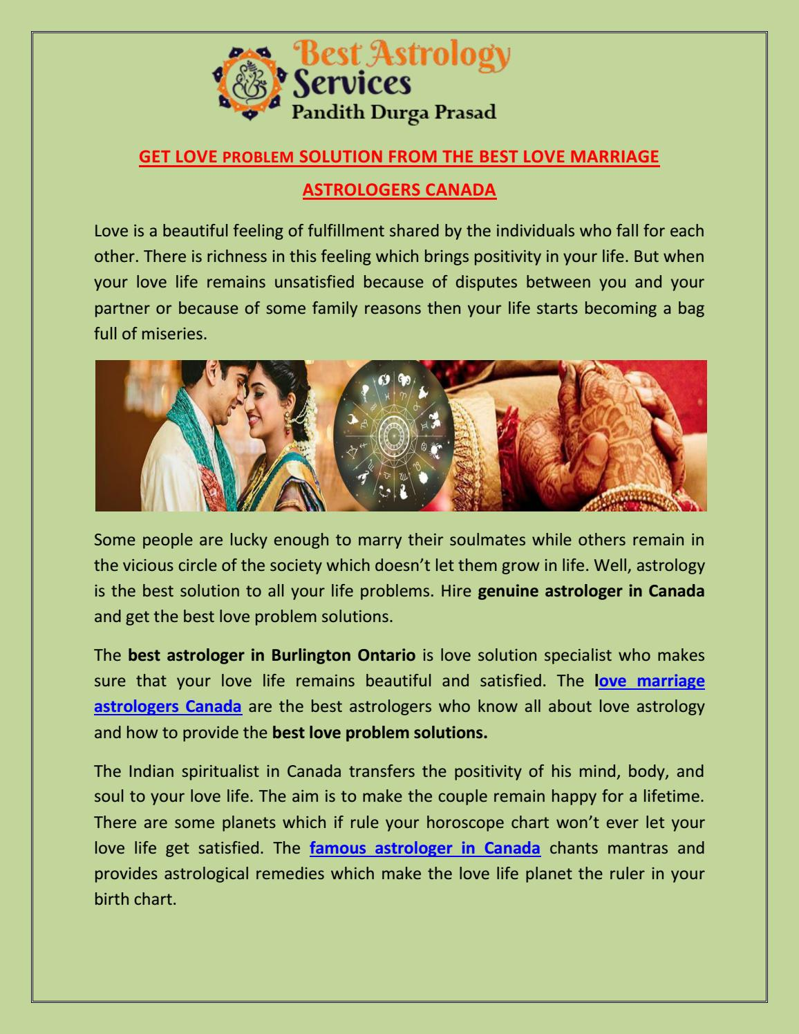 Get love problem solution from the best love marriage astrologers ...