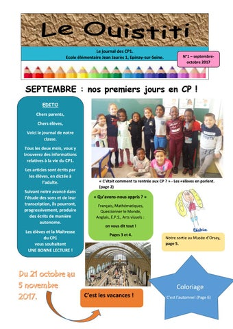 Coloriage Cp Octobre.Le Ouistiti Cp Septembre Octobre 2017 N 1 By Ien Epinay Issuu