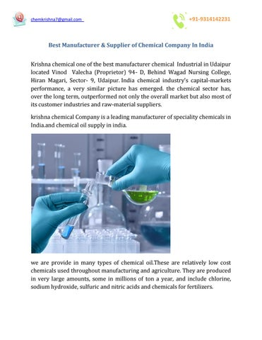 Best Manufacturer & Supplier of Chemical Company In India by krishna