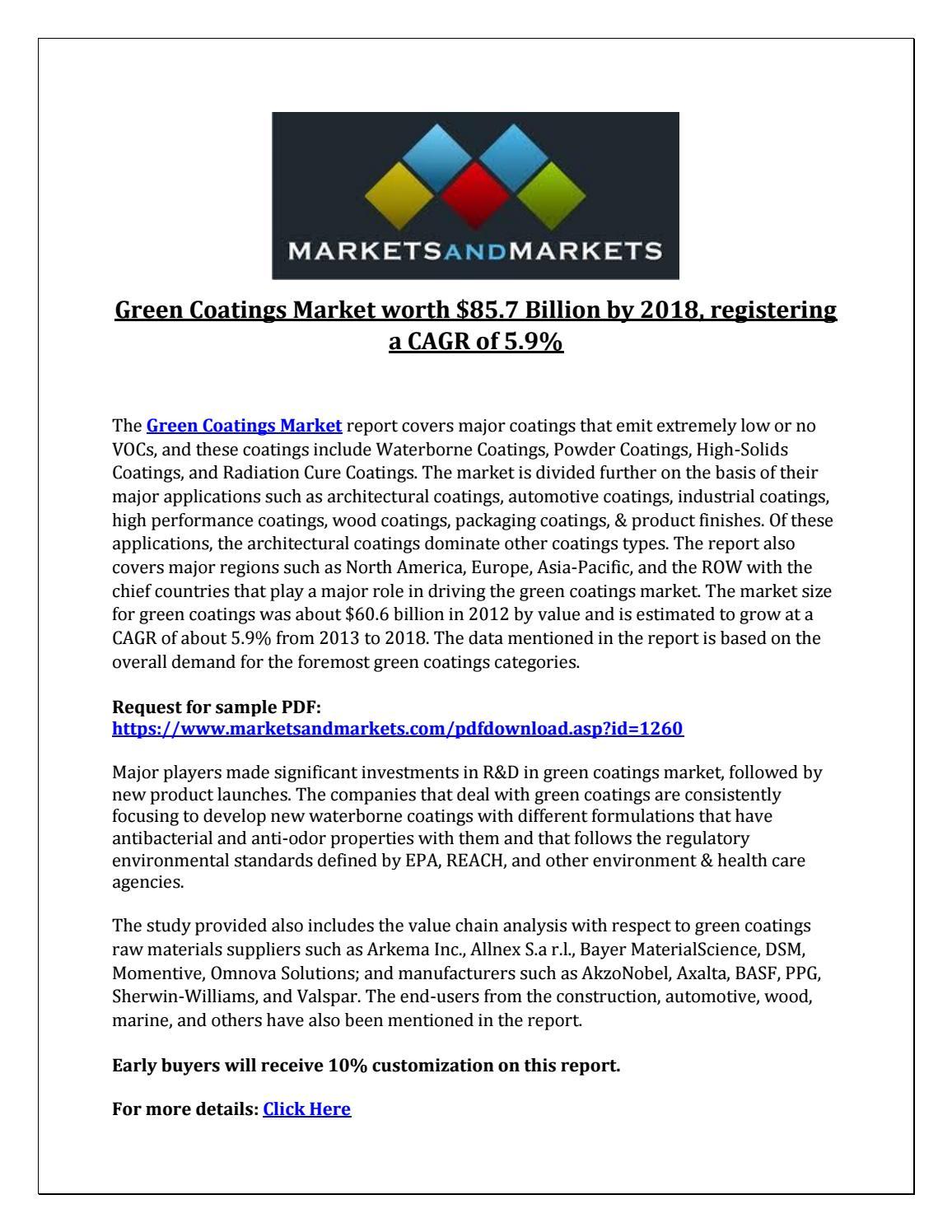 Green Coatings Market worth $85 7 Billion by 2018, registering a