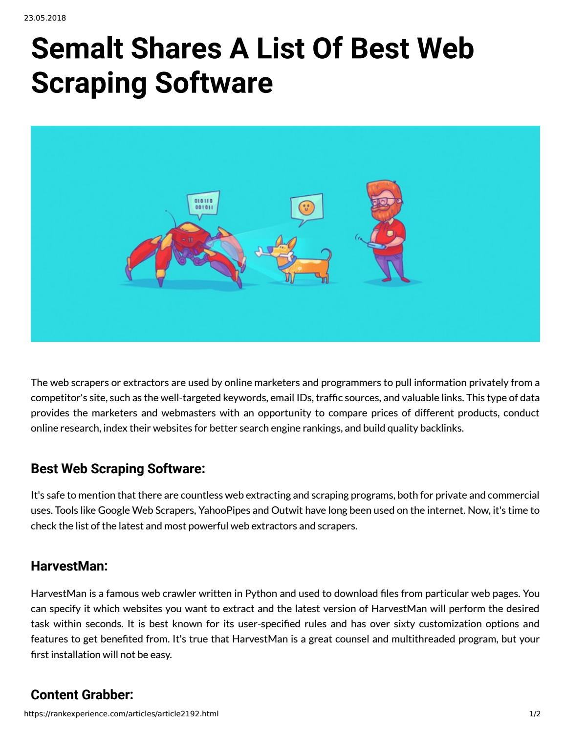 Semalt Shares A List Of Best Web Scraping Software by