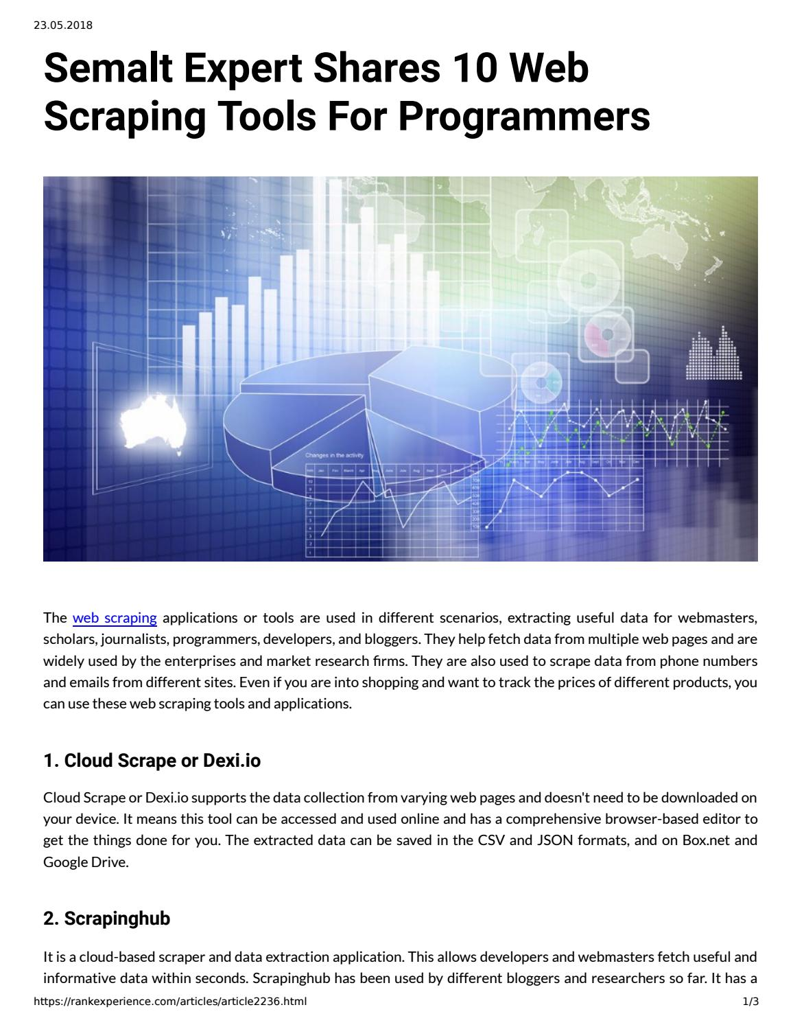 Semalt Expert Shares 10 Web Scraping Tools For Programmers