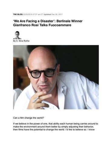 Page 1 of An exclusive interview with documentary filmmaker Gianfranco Rosi