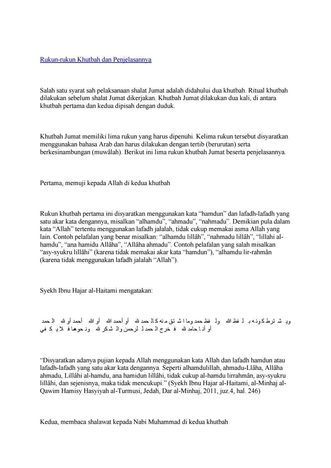 Rukun Khutbah Dan Penjelasannya By Mar Bawi Issuu