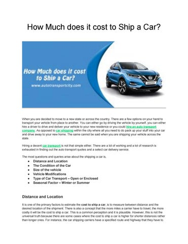 How Much Does It Cost To Ship A Car >> How Much Does It Cost To Ship A Car By Auto Transport City Issuu