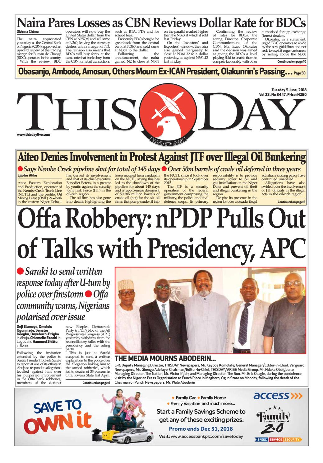 0f9385312de Tuesday 5th June 2018 by THISDAY Newspapers Ltd - issuu