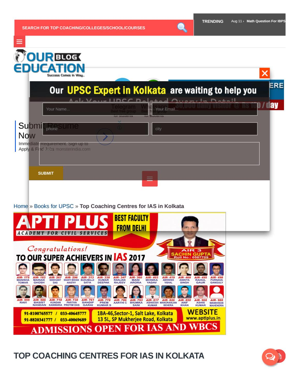 Top Coaching Centres for IAS in Kolkata by Our Education - issuu