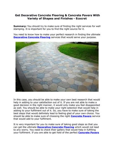 Get Decorative Concrete Flooring Concrete Pavers With Variety Of