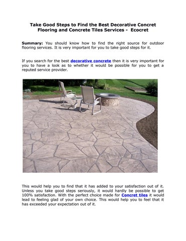 Take Good Steps To Find The Best Decorative Concret Flooring And