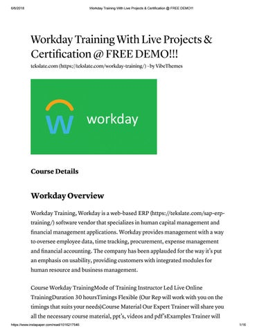 Workday training with live projects & certification @ free demo