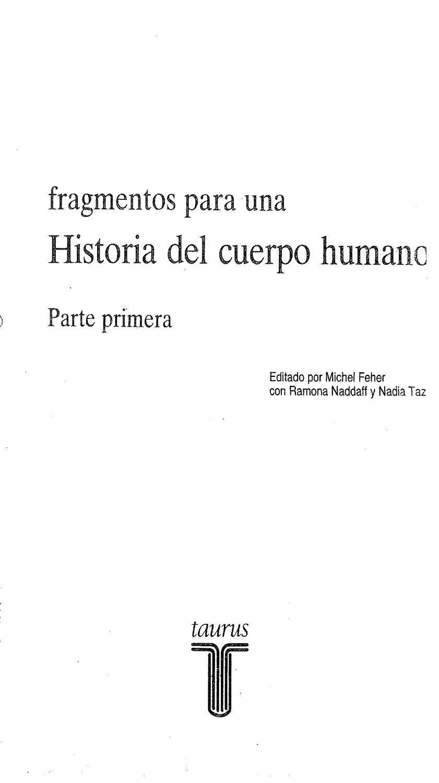 Fragmentos Para Una Historia Del Cuerpo Humano Primera