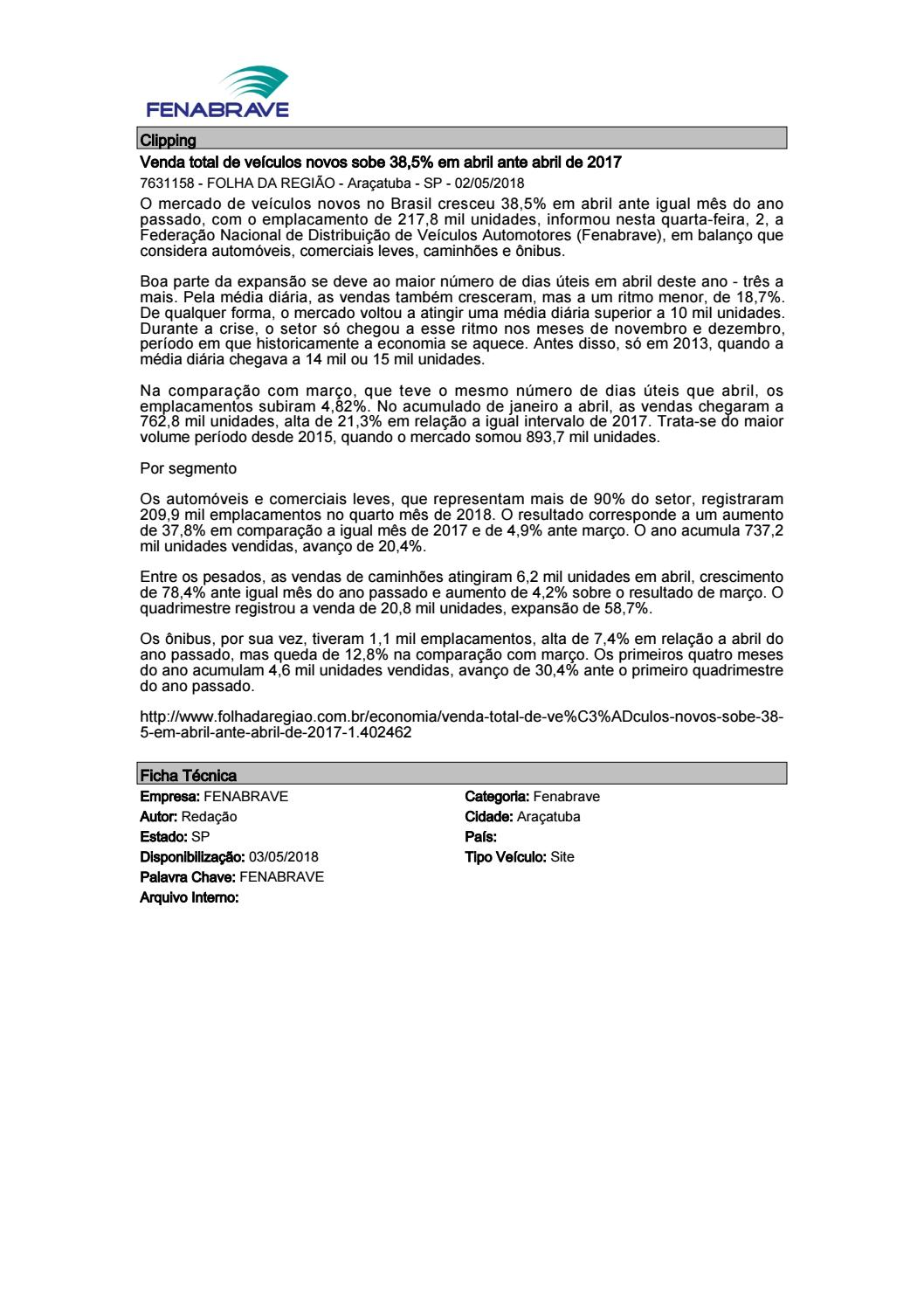 09c715b835f12 Clipping Fenabrave 03.05.2018 by MCE Comunicação - issuu