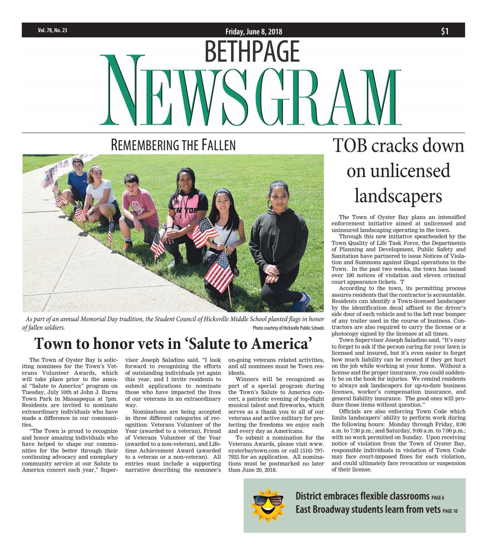 Bethpage Newsgram (6/8/18) by Litmor Publishing - issuu